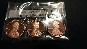 2013 S 2014 S & 2015 S PROOF LINCOLN CENTS    3 COINS