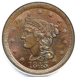 Click now to see the BUY IT NOW Price! 1843 N 6 PCGS MS 65 BN BRAIDED HAIR LARGE CENT COIN 1C