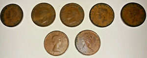 LOT OF 7 CANADA 1 CENT COINS 1938 1942 1947 1948 1951 1964 1968 GEORGE ELIZABETH