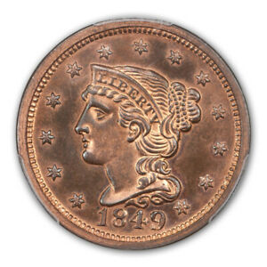 Click now to see the BUY IT NOW Price! 1849 1C BRAIDED HAIR CENT PCGS PR65 RB  CAC