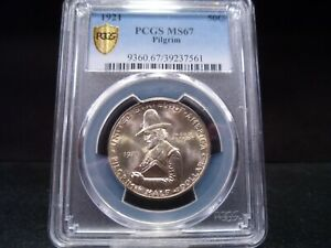 Click now to see the BUY IT NOW Price! 1921 MS67 PILGRIM SILVER COMMEMORATIVE PCGS CERTIFIED SUPERB GEM   GOLD SHIELD