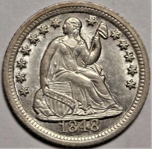 1848 O SEATED HALF DIME CHOICE UNCIRCULATED UNC H10C COIN FROM OLD COLLECTION