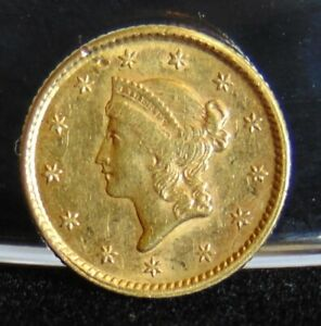 1854 LIBERTY HEAD $1 GOLD DOLLAR COIN TYPE 1 AU PRE 1933