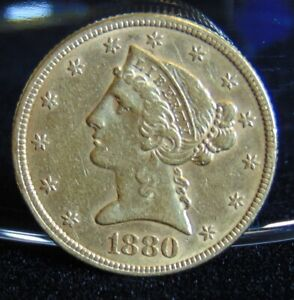 Click now to see the BUY IT NOW Price! 1880 LIBERTY HEAD $5 GOLD HALF EAGLE COIN PRE 1933 EF AU VARIETY 2 WITH MOTTO
