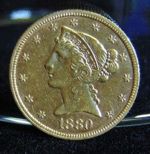 1880 LIBERTY HEAD $5 GOLD HALF EAGLE COIN PRE 1933 EF AU VARIETY 2 WITH MOTTO