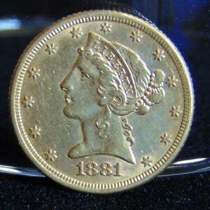 1881 LIBERTY HEAD $5 GOLD HALF EAGLE COIN PRE 1933 EF VARIETY 2 WITH MOTTO