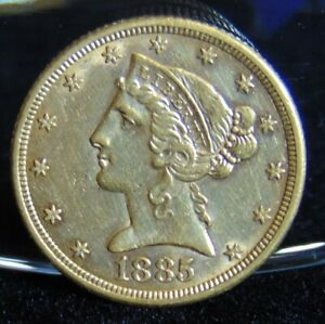 1885 LIBERTY HEAD $5 GOLD HALF EAGLE COIN PRE 1933 AU VARIETY 2 WITH MOTTO