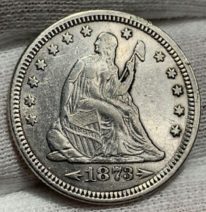 1873 ARROWS 1873 SEATED LIBERTY QUARTER VF /XF CLND    WITH MOTTO   DECENT
