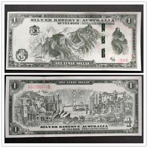 SILVER RESERVE OF THE MOON AUSTRALIA GREAT WALL BANKNOTES 1 LUNAR DOLLAR UNC