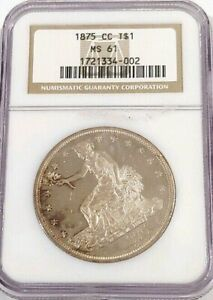 Click now to see the BUY IT NOW Price! 1875 CC TRADE SILVER DOLLAR NGC MS 61