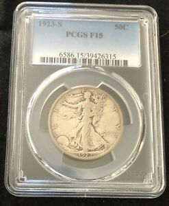 1923 S 50C WALKING LIBERTY HALF DOLLAR PCGS F15