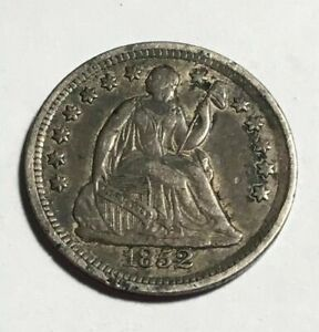 1852   H10C SEATED LIBERTY HALF DIME   XF/AU   TOUGH DATE       NICE COIN