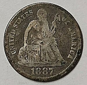 1843 1852 O 1887 AND 1889 SEATED LIBERTY DIMES