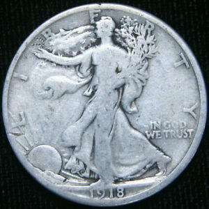 1918 S WALKING LIBERTY HALF DOLLAR VG GOOD  90  SILVER