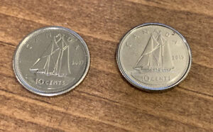 LOT OF 2 2007 & 2013 CANADA CANADIAN TEN 10 CENTS COINS