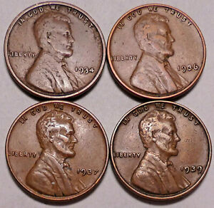 1934 P 1936 P 1937 P 1939 P LINCOLN WHEAT CENT PENNY   4 COINS