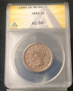 1852 1C LARGE CENT AU50 ANACS NH