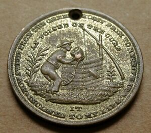 BRASS 1840'S TEMPERANCE TOKEN   MAN DRINKING FROM WELL   HEALTH WEALTH HAPPINESS