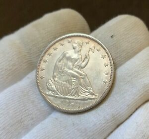 1858 O   LIBERTY SEATED HALF DOLLAR   CHOICE AU/BU   GREAT COLOR AND LUSTER