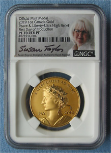 Click now to see the BUY IT NOW Price! 2019 CANADA PEACE & LIBERTY MEDAL 1 OZ GOLD   NGC PF 70 REV FDP TAYLOR/MERCANTI