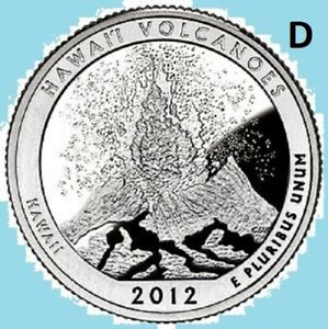 2012 D QUARTER HAWAII VOLCANOS NATIONAL PARK ATB    UNC BU UNCIRCULATED 2ND