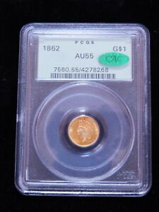 1862 $1 GOLD LIBERTY HEAD DOLLAR   PCGS AU55 CAC   OLD GREEN HOLDER 1000 78268