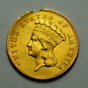 1857 INDIAN PRINCESS HEAD $3 THREE DOLLAR PIECE EARLY GOLD COIN  DAMAGED