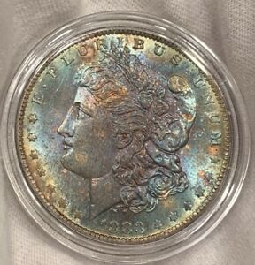 1883 O MORGAN 90  SILVER DOLLAR $1 BRILLIANT UNCIRCULATED BU MS RAINBOW TONED