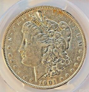1901 MORGAN DOLLAR    PCGS 55    AU WITH MS LUSTER    PHILLY MINT COIN
