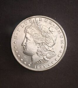 1897 P   HIGHER GRADE MS      MORGAN SILVER DOLLAR   FULL BREAST FEATHERS