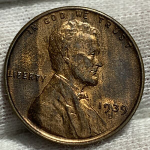 1939 D LINCOLN WHEAT CENT PENNY AU     IN THE COOL AS HELL CATEGORY