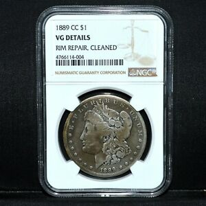 1889 CC $1 MORGAN SILVER DOLLAR  NGC VG DETAILS  GOOD CARSON TRUSTED