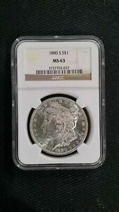 1880 S $1 NGC MS 63 MORGAN SILVER DOLLAR. CERTIFIED.  HIGH LUSTER