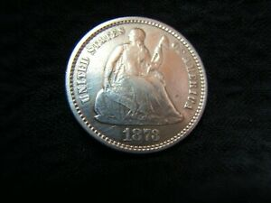 1873 NO ARROWS SEATED LIBERTY SILVER HALF DIME XF BEAUTIFUL COIN
