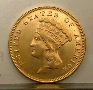 1874 THREE DOLLAR GOLD COIN HIGH LUSTROUS GRADE AS PICTURES SHOW  VERY  COIN