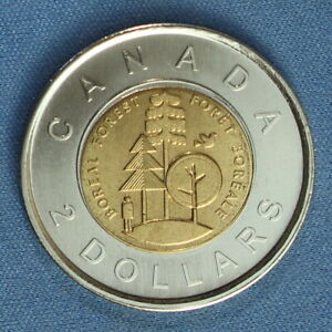 CANADA 2011 TOONIE 2$ FROM A MINT ROLL  SPECIAL BOREAL FOREST REVERSE