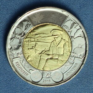 CANADA 2015 TOONIE 2$ FROM A MINT ROLL  SPECIAL FLANDERS FIELDS REVERSE
