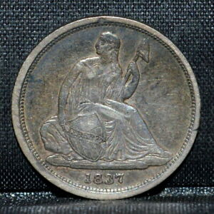 1837 SEATED LIBERTY DIME  XF  10C LY FINE NO STARS SMALL DATE TRUSTED