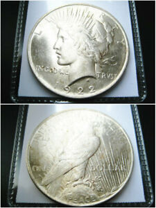 1922   P   PEACE SILVER DOLLAR CHOICE UNC BU COIN  NICE ORIGINAL TONED
