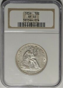 1859 50C NGC XF 45 CHOICE LY FINE EF SEATED LIBERTY HALF DOLLAR TYPE COIN