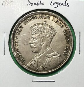 CANADA 1935 SILVER DOLLAR $1 DOUBLING LEGENDS ON OBVERSE