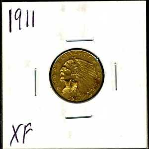 1911 $2.5 GOLD INDIAN HEAD QUARTER EAGLE IN XF CONDITION