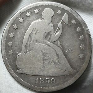 1859 O SEATED LIBERTY DOLLAR CHOICE GOOD G EARLY NEW ORLEANS SILVER $1 TYPE COIN