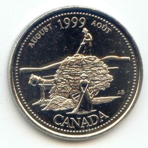 CANADA 1999 AUGUST UNC CANADIAN QUARTER 25C UNCIRCULATED COIN LOTB