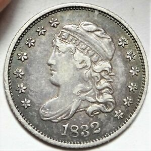 DOUBLE STRUCK REVERSE 1832 CAPPED BUST HALF DIME CHOICE LY FINE H10C COIN