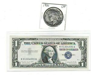 1921 P $1 PEACE SILVER DOLLAR & 1957A $1 SILVER CERTIFICATE NOTE LOT 1 EACH