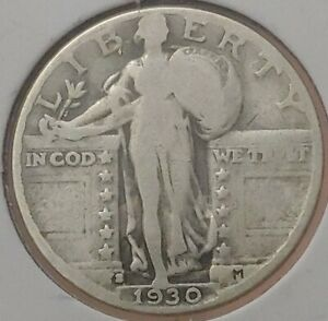 1930 S STANDING LIBERTY QUARTER 90  SILVER FINE FN