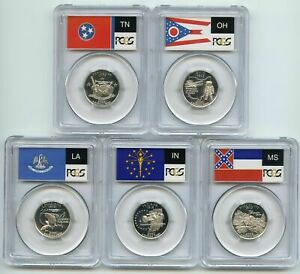 Click now to see the BUY IT NOW Price! 2002 S SILVER PROOF FIVE 5  COIN STATEHOOD QUARTER SET  PCGS PR70DCAM STATE FLAG