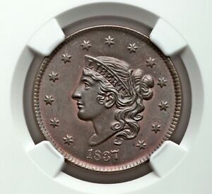 Click now to see the BUY IT NOW Price! ONE OF THE BEST  1837 1C NGC MS 66 BN CORONET HEAD LARGE CENT N 13 R2
