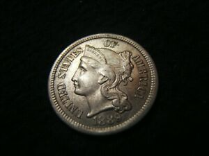 1889 3 CENT NICKEL MS      GORGEOUS LAST YEAR ISSUE   MINT. 18 125